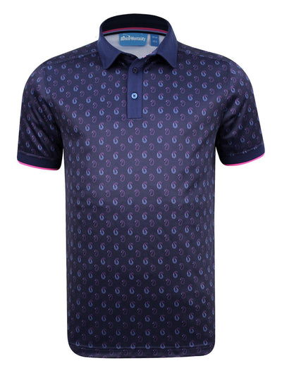 CMAX Ombre Paisley Polyester Polo Shirt - Navy - Various Sizes (sample)