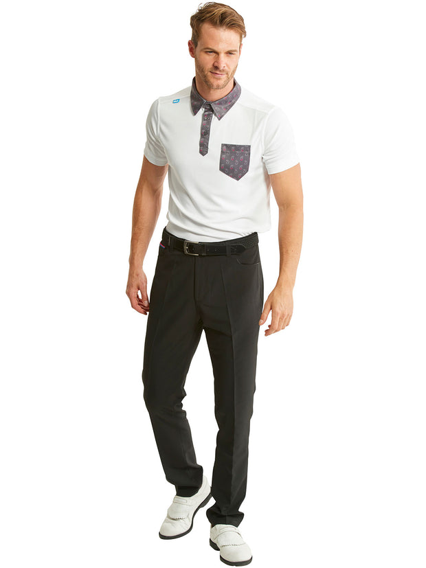 Bunker Mentality State Ombre White and Paisley Mens Golf Polo Shirt with Black Golf Trousers