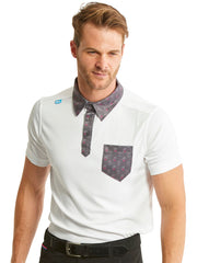 Bunker Mentality State Ombre White Mens Golf Polo Shirt with Paisley Pocket - Model