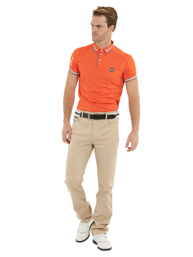 Bunker Mentality T Vault Stone Sand Mens Golf Trousers - model with events polo shirt
