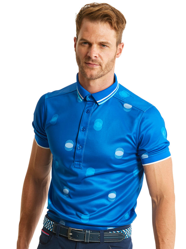 Bunker Mentality Cmax Blue Mens Golf Polo Shirt with White Overlapping Spots - Model