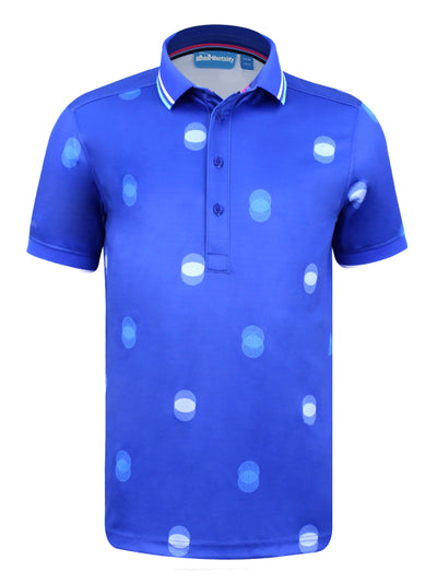 Bunker Mentality Cmax Blue Mens Golf Polo Shirt with White Overlapping Spots - Front