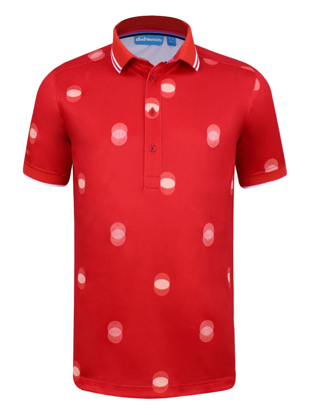 CMAX Overlap Spot Polyester Polo Shirt - Red - Various Sizes (sample)