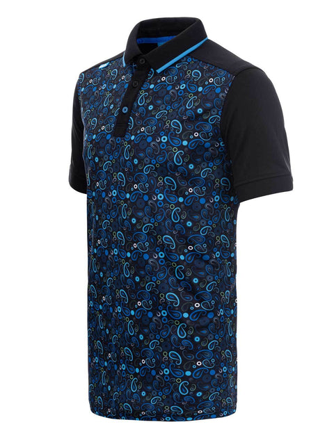 Bunker Mentality Black Golf Shirt with Blue Paisley Print. Solid Black Arms - Side