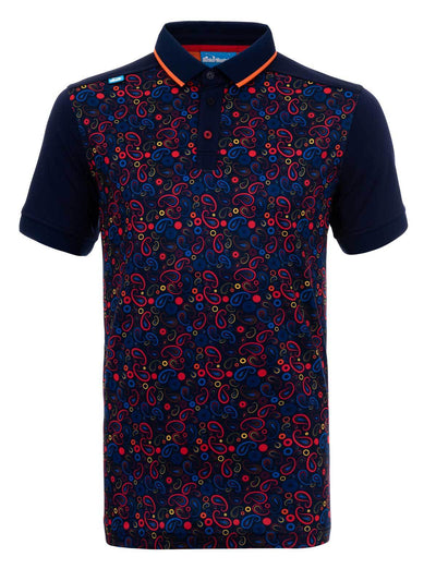 Bunker Mentality Navy Golf Shirt with Orange Paisley Print Golf with Solid Navy Arms - Front