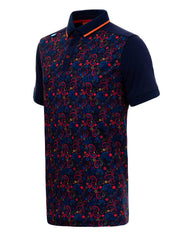 Bunker Mentality Navy Golf Shirt with Orange Paisley Print Golf with Solid Navy Arms - Side