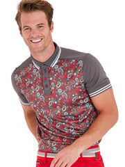 Bunker Mentality Cmax Grey Golf Shirt with Paisley print and contrast tipping - Model