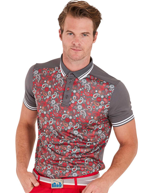 Bunker Mentality Cmax Grey Golf Shirt with Paisley print and contrast tipping - Model 2