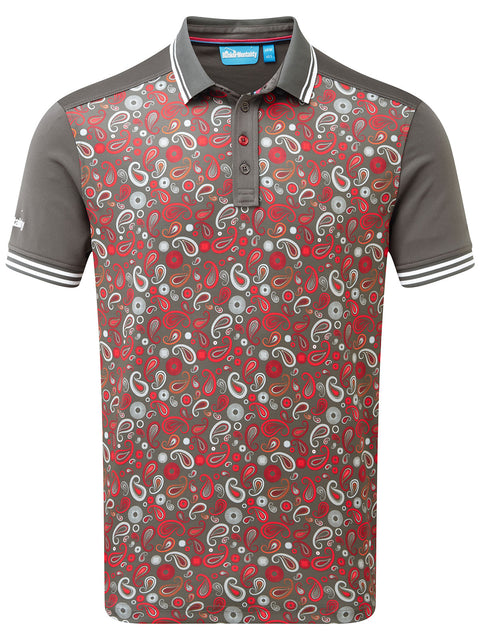 Bunker Mentality Cmax Grey Golf Shirt with Paisley print and contrast tipping - Front