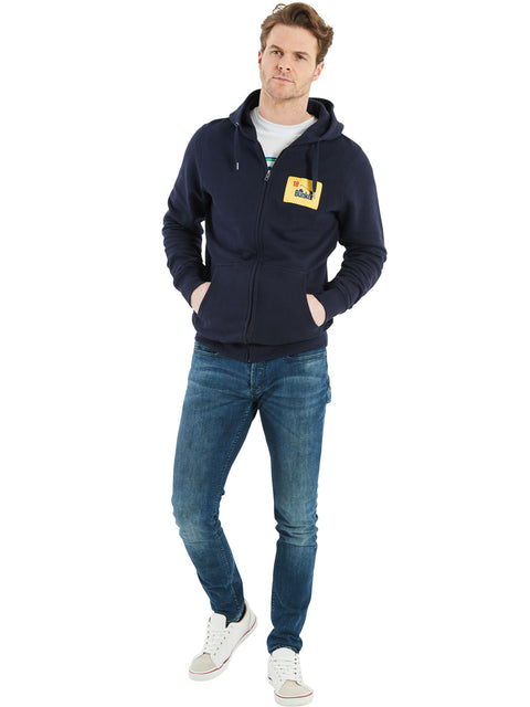 Bunker Mentality Navy Golf Hoodie with Bunker Flag Patch - On Model Wearing Jeans