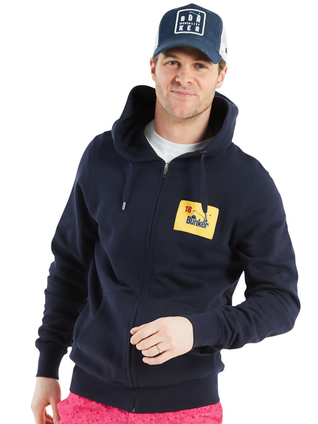 Bunker Mentality Navy Golf Hoodie with Bunker Flag Patch - On Model