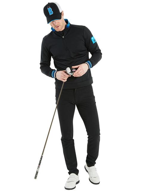 Bunker Mentality Black Golf Mid Layer Sweater with Tri Colour Rib on Collar and Cuffs and Blue patch on left arm - Outfit