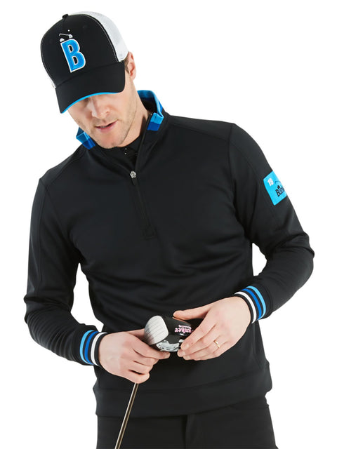 Bunker Mentality Bunker B Trucker Golf Cap - Black Front with Blue B and White Mesh Back - On Model