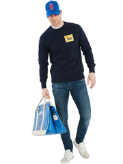 Bunker Mentality Navy Golf Sweatshirt with Bunker Flag Patch - On Model with Jeans