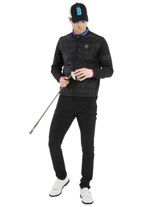 Bunker Mentality Cooper Black Padded Insulated Wind Golf Jacket with Baseball Collar - Model wearing Black Trousers