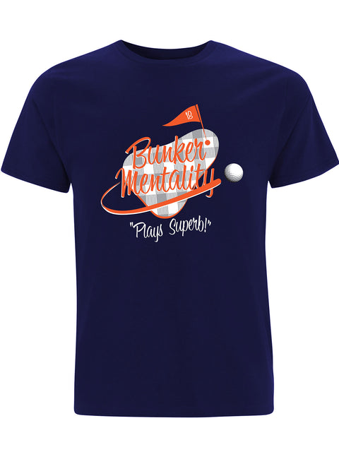 Bunker Mentality Plays Superb Graphic Print Navy Mens Golf T Shirt