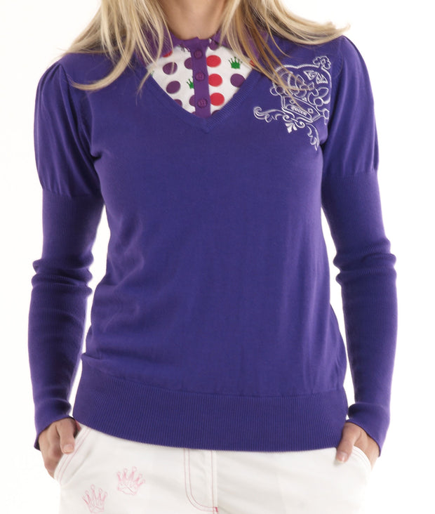 Queen of the Green Purple V Neck 100% Cotton Womens Golf Sweater - Model