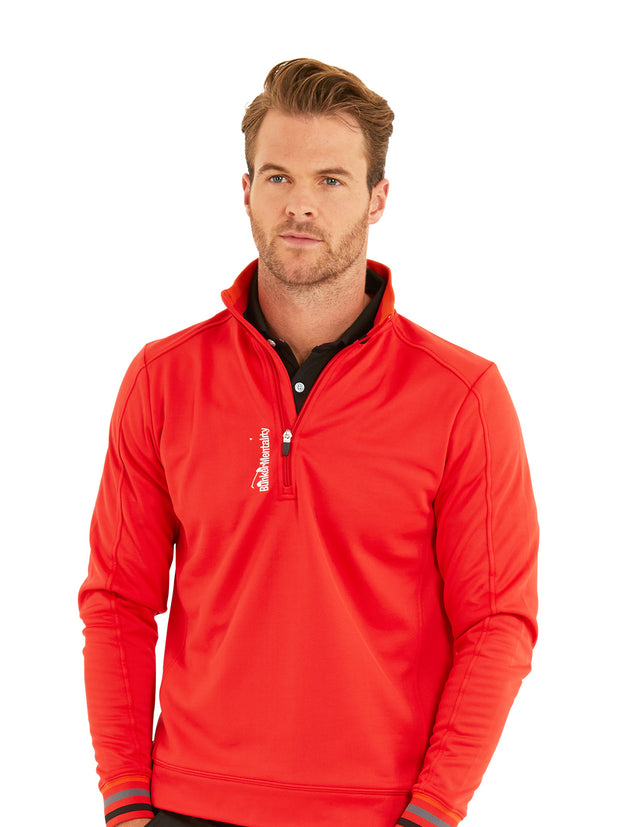 Bunker Mentality Red Quarter Zip Thermal Mens Golf Mid Layer with Tri Colour Neck and Cuffs - Model