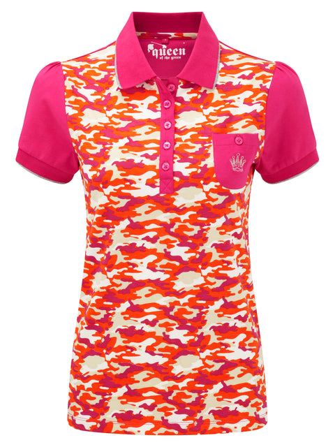 Queen of the Green Pink Orange Camo Print Womens Golf Polo Shirt