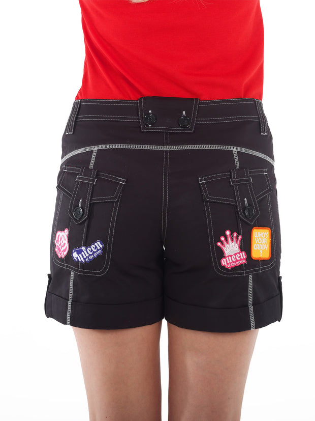Queen of the Green Black Womens Golf Shorts - Back