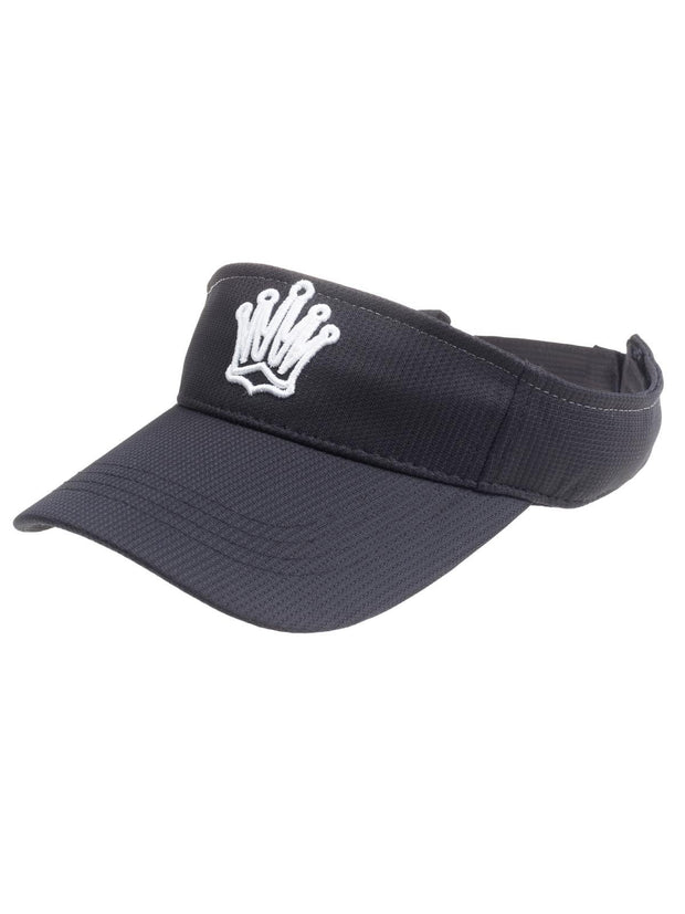 Queen of the Green Black Womens Golf Visor with White crown