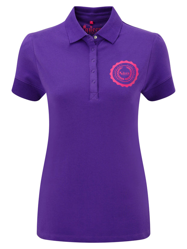 Queen of the Green Purple Womens Golf Polo Shirt with Queen of the Green Printed on the Back