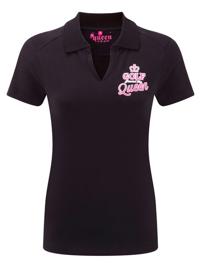 Queen of the Green Black Womens Golf Polo Shirts with Golf Saved The Queen on the front and back - Front
