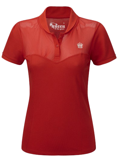 Queen of the Green Red Womens Golf Polo Shirt With Mesh Top Panel