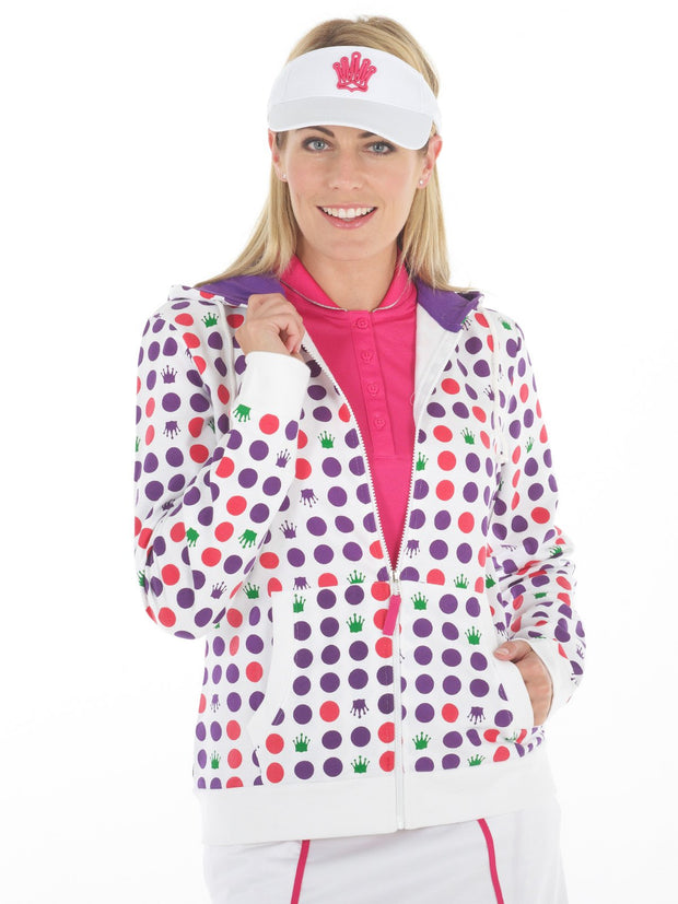 Queen of the Green White Womens Golf Hoodie with Spots Printed - Front