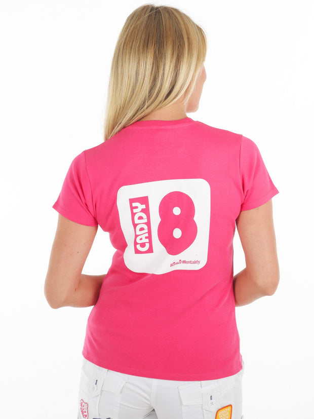 Queen of the Green Who's Your caddy hot pink womens golf t shirt - Back