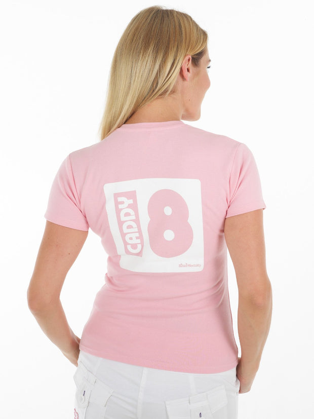 Queen of the Green Who's Your caddy Pale pink womens golf t shirt - Back