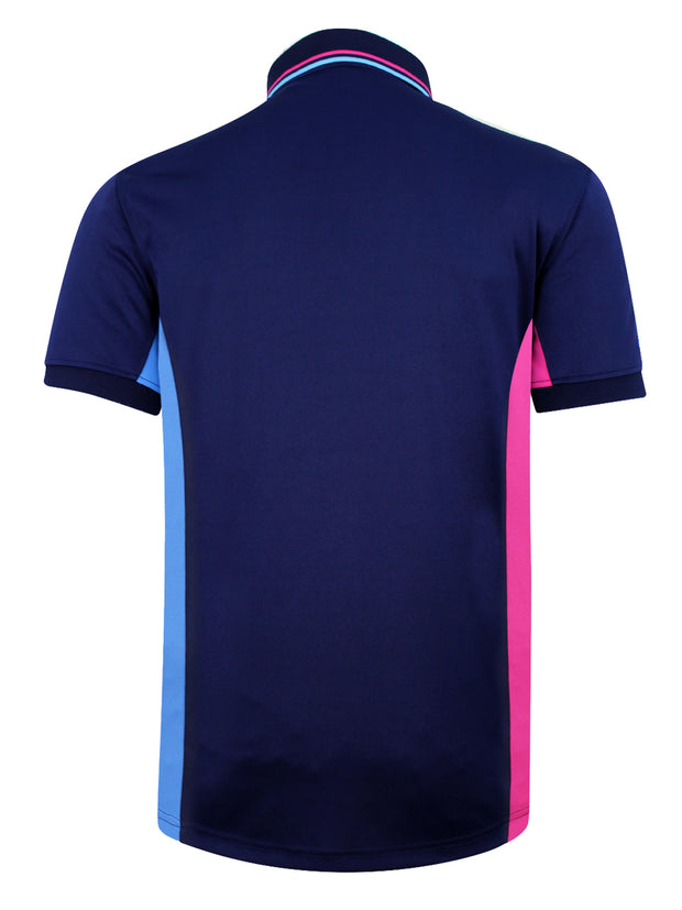 Bunker Mentality Navy Mens Golf Polo Shirt With Pink and Blue Side Panel - Back