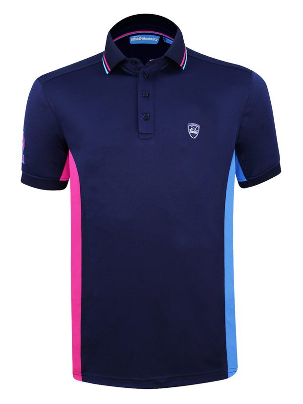 Bunker Mentality Navy Mens Golf Polo Shirt With Pink and Blue Side Panel - Front