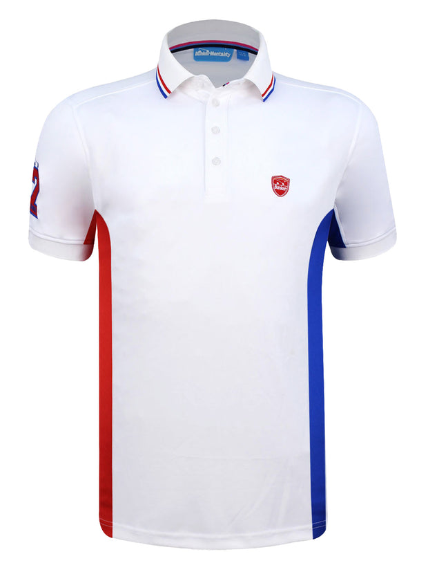 Bunker Mentality White Mens Golf Polo Shirt With Blue and Red Side Panel