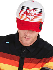 Bunker Mentality Signature Red Black Orange Stripe Snapback Golf Cap with Logo Badge Model Front