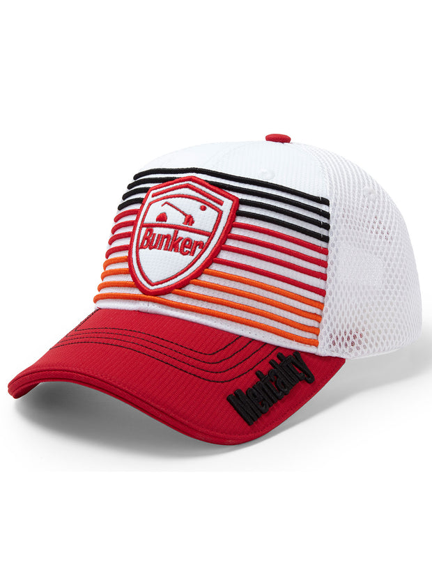 Bunker Mentality Signature Red Black Orange Stripe Snapback Golf Cap with Logo Badge