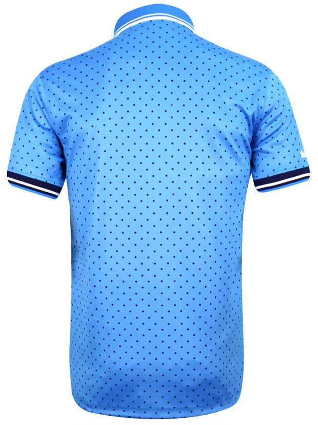 Bunker Mentality Blue Spotted Mens Golf Golf Shirt - Back
