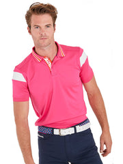 Bunker Mentality Hot Pink Mens Golf Shirt with back stripe and contrasting tipping - Model