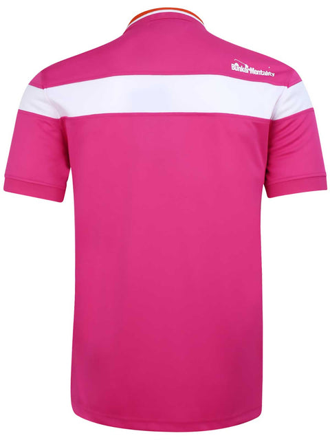 Bunker Mentality Hot Pink Mens Golf Shirt with back stripe and contrasting tipping - Back