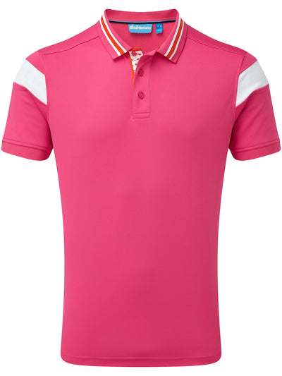 Bunker Mentality Hot Pink Mens Golf Shirt with back stripe and contrasting tipping - Front