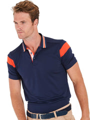 Bunker Mentality Navy Mens Golf Shirt with back stripe and contrasting tipping - Model