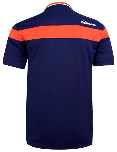 Bunker Mentality Navy Mens Golf Shirt with back stripe and contrasting tipping - Back