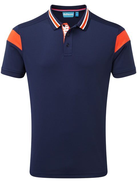 Bunker Mentality Navy Mens Golf Shirt with back stripe and contrasting tipping - Front