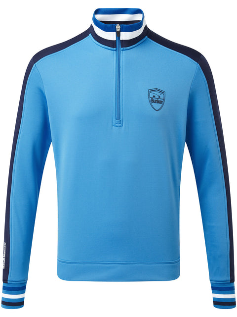 Bunker Mentality Sports Stripe Blue Quarter Zip Thermal Mens Golf Mid Layer - Front