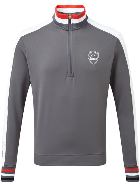 Bunker Mentality Sports Stripe Grey Quarter Zip Thermal Mens Golf Mid Layer - Front