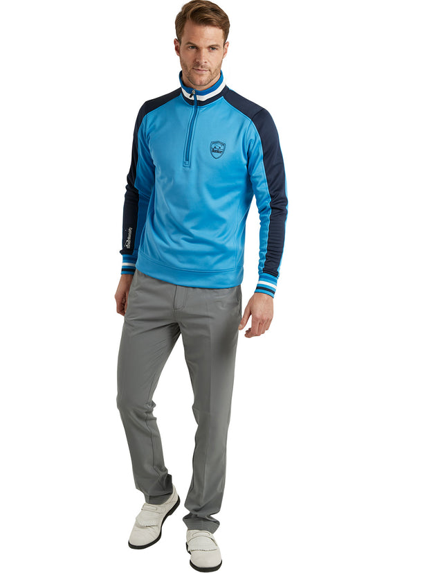 Bunker Mentality Sports Stripe Blue Quarter Zip Thermal Mens Golf Mid Layer - Model in Grey Golf Trousers
