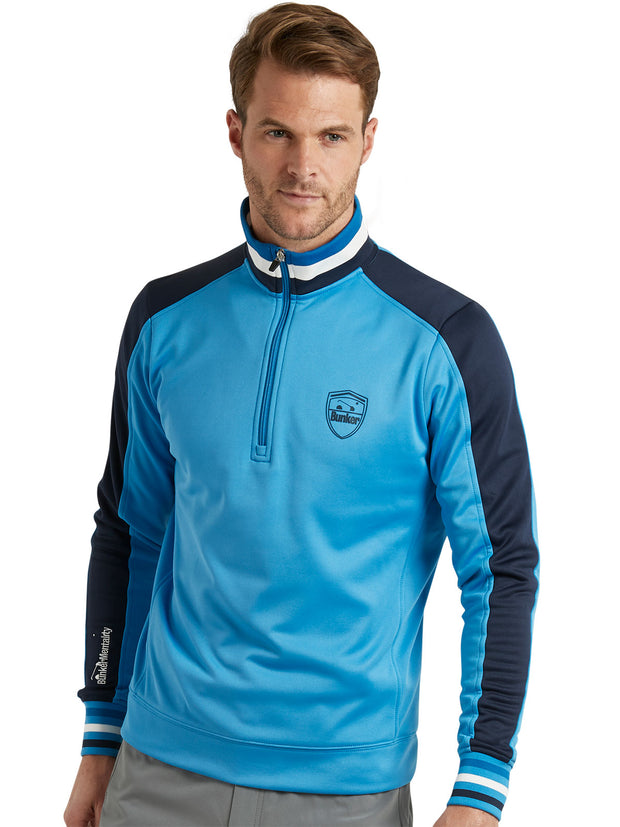 Bunker Mentality Sports Stripe Blue Quarter Zip Thermal Mens Golf Mid Layer - Model