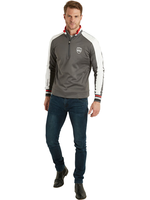 Bunker Mentality Sports Stripe Grey Quarter Zip Thermal Mens Golf Mid Layer - Model wearing Jeans