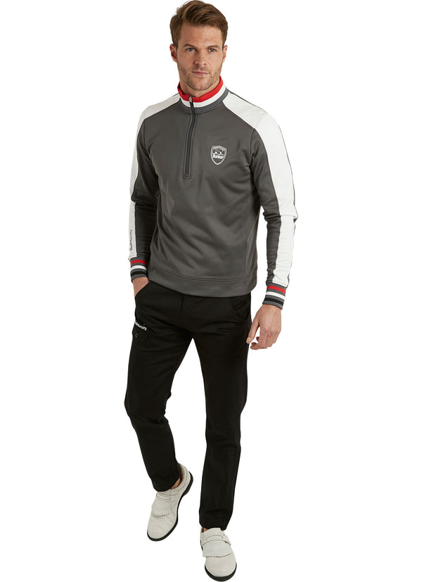 Bunker Mentality Sports Stripe Grey Quarter Zip Thermal Mens Golf Mid Layer - with Black Golf Trousers
