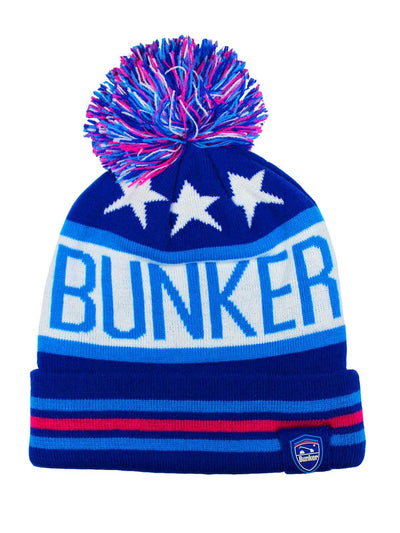 Bunker Mentality Logo Stars and Stripes Bobble Hat Blue Pink White
